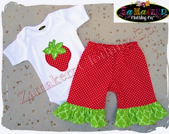 Girl Red Strawberry Tee Outfit Onesie Sweet Short Capri Pant Outfit Set T Shirt Birthday Size 3 6 9 12 18 24 month 2 2T 3T 4T 4 5T 5 6 7 8
