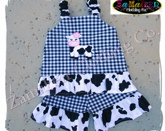 Girl Farm Cow Outfit Pant Set Birthday Custom Boutique Clothing Toddler Infant Baby 3 6 9 12 18 24 month size 2T 2 3T 3 4T 4 5T 5 6 7 8