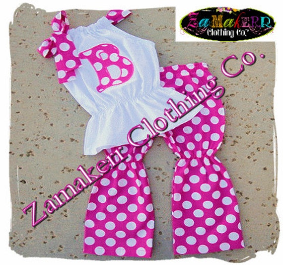 Custom Boutique Clothing White Bubble Pillowcase Top Pink Polka Dot Pant Outfit Set 3 6 9 12 18 24 month size 2T 2 3T 3 4T 4 5T 5 6 7 8