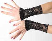 Lace jersey cuffs with ruffle, black and golden cuffs,  black pleather ruffled cuffs