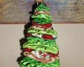 Red & Green Assorted Fabric Yo Yo Christmas Tree Ornament