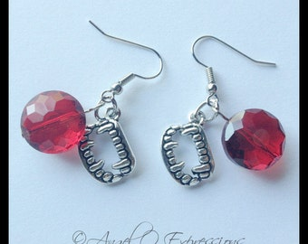Once Bitten Vampire Fangs with Crimson Faceted Glass Beads Earrings  OOAK