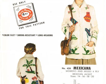 Mary Maxim 428 - Mexicana women's and misses mexican jacket to knit - graph knitting - sizes 14,16,18,20 PDF pattern
