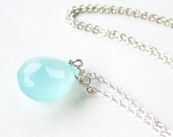 Aqua Chalcedony Necklace, Silver Chain Necklace, Light Blue Faceted Gemstone Teardrop, Simple Pendant Necklace, Pale Aqua Handmade, Tranquil