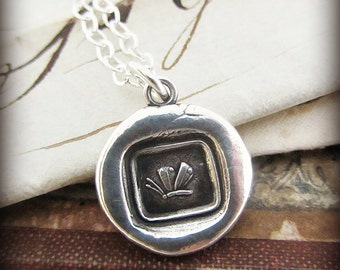 Butterfly Necklace - Wax Seal Jewelry - Silver Butterfly Pendant - Antique Wax Seal Pendant E2400