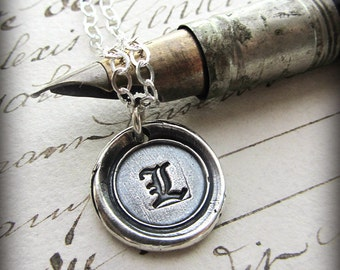 Old English Vintage Wax Seal Initial - personalized initial necklace - vintage style - handcrafted - M235