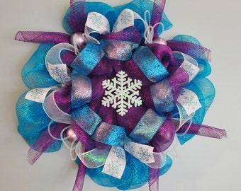 Deco Mesh Purple Turquoise Snowflake Wreath