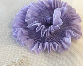 "Pleated Soft Lavender 100% Silk Ribbon 1-1/4"" wide 1 Meter long"