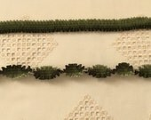"Pleated French Ribbon Acetate Forest Green Ombré 1 meter 7/8"" wide #271"