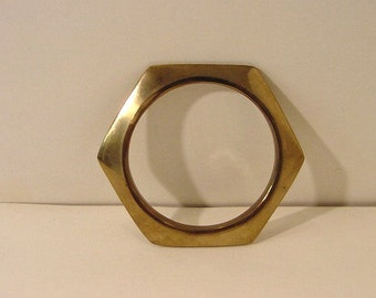 "Vintage Hexagonal Bangle Bracelet in Brass metal, slip-on style 8"" interior measurement | layering Industrial"