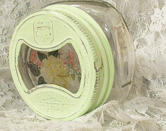 destash pale apple green shabby chic ball squat half pint wide mouth canning jar vintage glass insert aluminum band yellow rose
