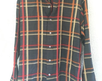 Barracuta by Van Heusen Autumnal Brown Orange and Red Plaid Oxford Shirt