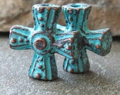 Mykonos Greek 16mm Celtic Cross Rosary Center Green Patina : 2 pc Metal Casting Cross Greek Verdigris Charm