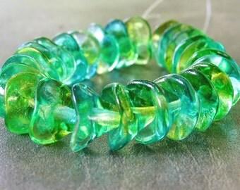 Three Petal Flower Bead Czech Glass 10x12mm Yellow Blue Green : 12 pc Czech Flower Bead