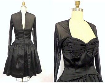 90s Vie By Victoria Royal Black Dress/ Sheer Fit And Flare Party Dress / Size  4