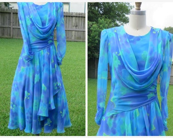 Vtg. 80s Miss Elliette Blue Floral Dress/ Grecian  Keyhole Tea Leangth Dress Sz M