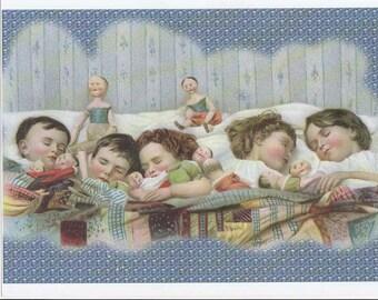 Childrens Nursey Vintage Print, Enlargement print, Sleepy Childrens Dreams