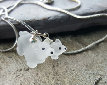 Mama and baby polar bear....Artisan glass lampwork necklace...Mother's Day