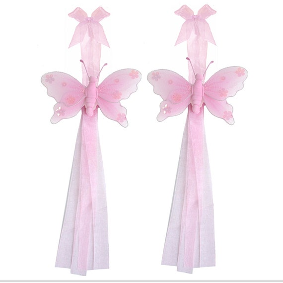 Retenue de rideau papillon nylon rose papillons embrasse for Rideau rose chambre fille
