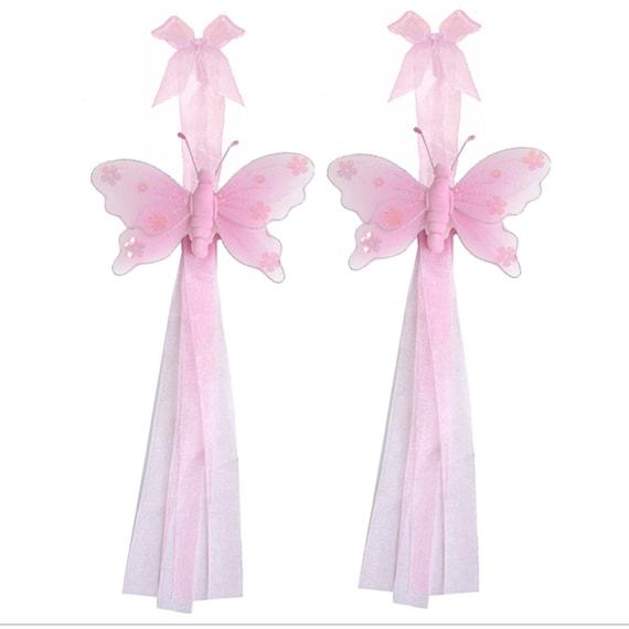 Retenue de rideau papillon nylon rose papillons embrasse for Rideau rose chambre fille