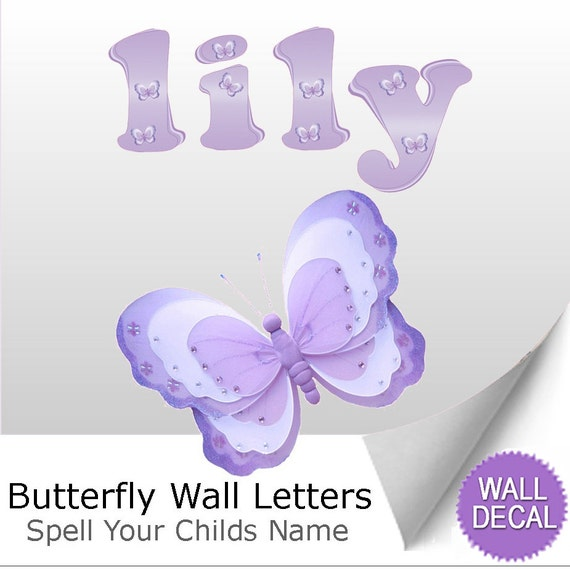 letter wall decals wall stickers alphabet letters removable butterfly name 23292