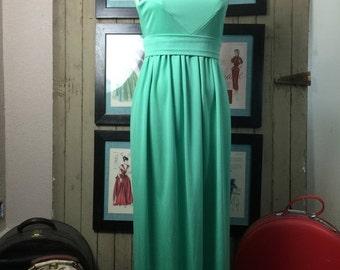 1960s dress maxi dress green dress sleeveless dress size medium Vintage dress high neck dress 60s dress hostess dress