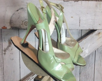Fall sale 1950s pearl green heels 50s Mr Kimel peeptoe shoes size 4 Vintage Norstrom pin up