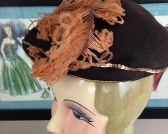Fall sale 1940s hat brown hat 40s hat feather hat vintage hat evening hat wool sequins