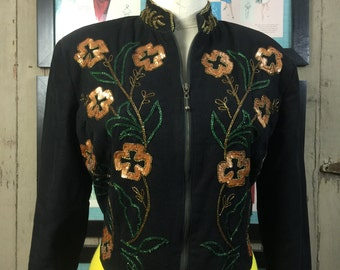 1980s black jacket 80s beaded jacket size medium large Vintage ethnic Jacket