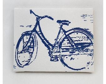 "Bike Canvas Print (8x10"") Vintage Bicycle Screenprint Wall Art"