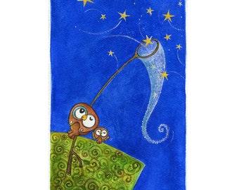 star netting ( Print ) whimsical, blue sky, wish upon a star, owl nursery art
