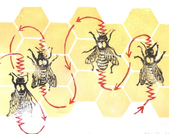 Honeybee Dance Linocut - Pollinator Bee Biodiversity Print Collection - Dance of the Honey bee Lino Block Print