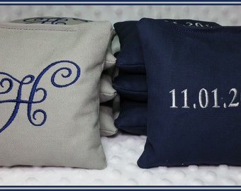Wedding Cornhole Bags Personalized Set of 8 Navy and Light Grey Calligraphy