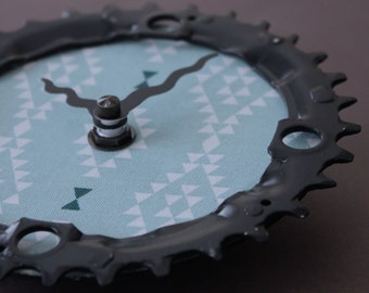 Bicycle Gear Clock - Southwest  |  Bike Clock  | Wall Clock | Recycled Bike Parts Clock
