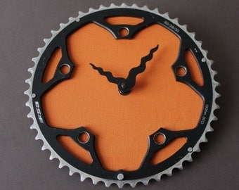 Bicycle Gear Clock - Orange Chrome | Bike Clock | Wall Clock | Recycled Bike Parts Clock