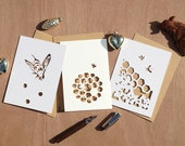 Set of Honey Bees Papercut Greeting Cards