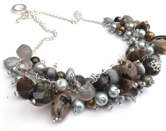 Grey Necklace, Chunky Necklace, Pebble Theme, Cluster Necklace, One of a Kind Jewelry, Gift For Her, Gray Brown, Earth Tones, Pebbly Beach