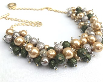 Olive Green and Gold Necklace, Chunky Pearl Necklace, Bridesmaid Jewelry, Cluster Necklace, Bridesmaid Gift, Bridesmaids Necklace, Taupe