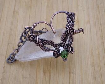 Heart Bracelet Green Swarovski Crystal Round Bead Wire Weave Wrapped in Oxidized Copper Wire Wrapped Jewelry Handmade