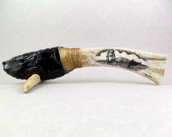Hand Made Rustic Ornamental Knife, Scrimshaw Knife, Deer Antler, Hand Knapped Obsidian Blade, Ship and Fluke, Island, Nautical Scene