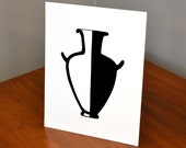 Classical Greek Pottery, Hydria, 11x14 or 8x10 Original hand-cut paper art
