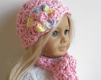 18 Inch Doll Clothes Crocheted Pink Hat and Scarf Set Handmade to Fit the American Girl and Other 18 Inch Dolls - Ready to Ship