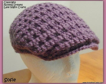 Instant Etsy Download PATTERN -Flat Top Cabbie Cap Crochet Pattern-Awesome Texture and Fit