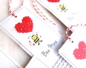 10 Gardening Bee Mine Valentine's Day Gift Tags - Plantable Seed Paper Valentines - White Red Bookmarks - Bee and Birds Friendly Seeds