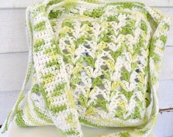Lime Green Yellow White Cotton Shoulder Cross-body Tote Market Bag