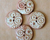 4 Handmade Ceramic Buttons - Stoneware Abstract Circles in Rustic Rust - Handmade Knitting Sup;lies