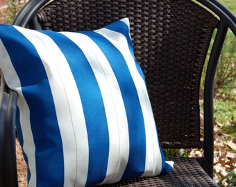 Nantucket Striped Sun Porch Patio Pillow / blue and white stripe pillow/ indoor outdoor / coastal beach house nautical / Cape Cod cottage