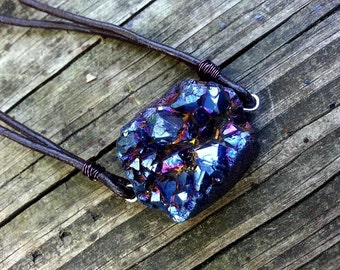GENUINE Titanium Quartz INdigo Third Eye unisex Leather Pendant Meditation Blissful