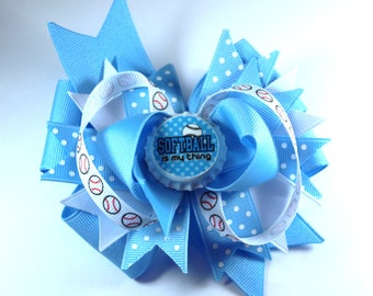 Blue Bottle Cap Softball Sports Boutique Hair Bow Clip