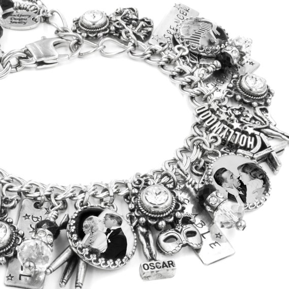 Silver Charm Bracelet, Hollywood Couples Charm Bracelet, Vintage Hollywood Jewelry, Handcrafted Jewellery